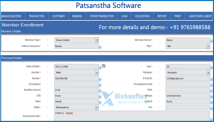 Patsanstha Software, Patsanstha Software Demo